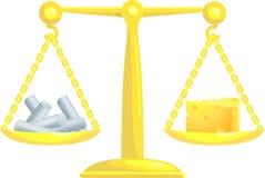 zrównoważyć kredy w porównaniu do Zdjęcia Stock
