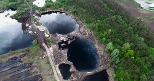 Zręcznego przemysłu nafciany paliwo rozlewa skażenie wody Trutni strzały zdjęcie wideo