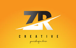 ZR Z R Letter Modern Logo Design with Yellow Background and Swoo Royalty Free Stock Photo