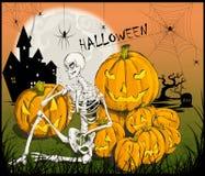 Zredukowana ilustracja z baniami dla Halloween ilustracji