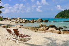 zrelaksować na plaży Fotografia Royalty Free