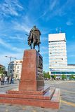 King Petar Karadjordjevic the first statue on Zrenjanin, Serbia. Zrenjanin, Serbia - May 17, 2018: King Petar Karadjordjevic the first statue on Zrenjanin royalty free stock image