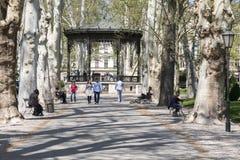 Zrinjevac公园在萨格勒布,克罗地亚首都 免版税库存图片