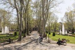 Zrinjevac公园在萨格勒布, caputal的克罗地亚人 图库摄影