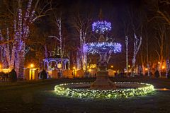 Zrinjevac park decorated by Christmas lights as part of Advent i Royalty Free Stock Photo