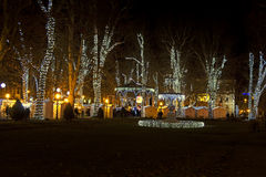 Zrinjevac park decorated by Christmas lights Stock Images
