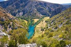 Zrmanja和Krupa河狂放的风景峡谷 图库摄影
