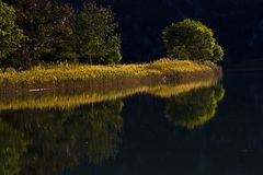 Reflection on the Zrmanja River stock photography