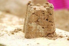 zrobił dziecko zamek z piasku Zdjęcie Stock