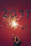 2017 zrobili confetti i sparkler Zdjęcia Stock