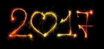 2017 zrobili sparklers na czarnym tle Obrazy Stock