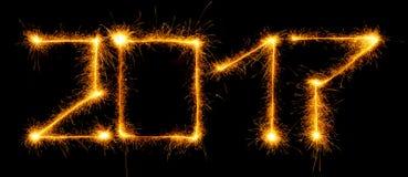 2017 zrobili sparklers na czarnym tle Zdjęcie Stock
