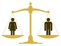 Zrównoważona skala z kobietą i mężczyzna Zdjęcia Royalty Free