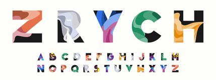 ZRYCH Colorful Wavy Alphabet vector illustration
