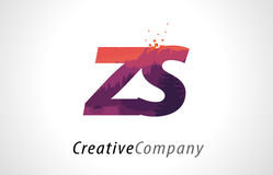 ZS Z S Letter Logo Design with Purple Forest Texture Flat Vector Stock Image