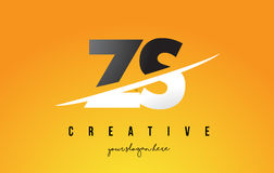ZS Z S Letter Modern Logo Design with Yellow Background and Swoo Stock Photography