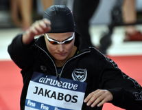 Zsuzsanna JAKABOS HUN. Hong Kong, China - Oct 29, 2016.  Zsuzsanna JAKABOS HUN at the start of the Women`s Freestyle 800m Final. FINA Swimming World Cup Royalty Free Stock Photo