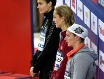 Zsuzsanna JAKABOS HUN, Madeline GROVES AUS, Katinka HOSSZU HUN Stock Afbeeldingen