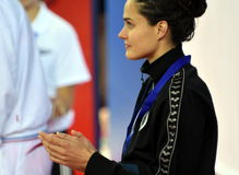 Zsuzsanna JAKABOS HUN på Victory Ceremony Arkivbilder