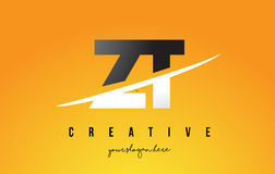 ZT Z T Letter Modern Logo Design with Yellow Background and Swoo Stock Image