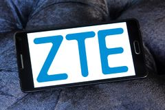 ZTE Corporation logo. Logo of ZTE Corporation on samsung mobile. ZTE, is a Chinese multinational telecommunications equipment and systems company Royalty Free Stock Photos