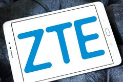 ZTE Corporation logo. Logo of ZTE Corporation on samsung tablet . ZTE, is a Chinese multinational telecommunications equipment and systems company Stock Image