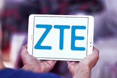 ZTE Corporation logo. Logo of ZTE Corporation on samsung tablet . ZTE, is a Chinese multinational telecommunications equipment and systems company Stock Photo