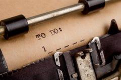 Zu die Liste tun geschrieben auf der Schreibmaschine stockfoto