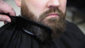Zu einen Bart kämmen Friseur schneidet Kundenbart mit einem Berufsbarttrimmer in einem Friseursalon auf hellem Hintergrund, Absch stock video footage