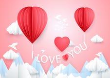 Zu küssen Mann und Frau ungefähr Zwei Heißluftballone, die ich liebe dich mit Wörtern fliegen Stockfotografie
