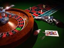 Zu Kokain zu verbrauchen ist hinsichtlich der russischen Roulette des Spiels Stockfoto