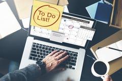 Zu Listen-Zeitplan-Kalender-Planer-Organisations-Konzept tun Stockfotografie