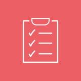 zu Listenikone tun Checkliste, Aufgabenlisten-Vektorillustration im fla Lizenzfreie Stockbilder