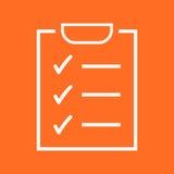 zu Listenikone tun Checkliste, Aufgabenlisten-Vektorillustration im fla Lizenzfreies Stockfoto