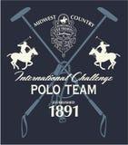 Zu Pferde internationale Herausforderung des Polosports lizenzfreie abbildung