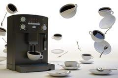 Zu viel Kaffee-Weiß Stockfoto