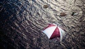 Zu viel regnen? Entgehen Sie dem schlechten Wetter, Ferienkonzept Stockbild