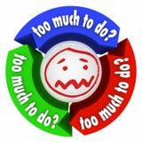 Zu viel, zum von Druck-Job-Aufgaben zu tun überbelastete den drei Pfeil-Arbeitsfluß Lizenzfreie Stockbilder