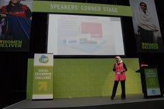 ZUBAIDA BAI_INDIAN DELEGATE TALKING TO SPEAKES CORNER Royalty Free Stock Image
