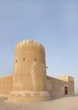 南部的塔& Zubarah堡垒,卡塔尔的东南墙壁 库存照片