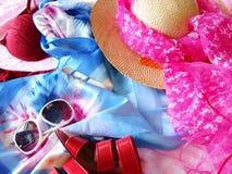 Zubehör für das Ein Sonnenbad nehmen Lizenzfreies Stockfoto
