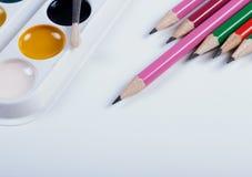Zubehör für das Malen Bürsten und Bleistifte Stockfotos