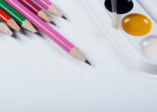 Zubehör für das Malen Bürsten und Bleistifte Stockbild