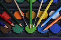 Zubehör für Kreativität, Farben, Bürsten und Bleistiftnahaufnahme Stockfoto