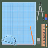 Zubehör für mechanisches Zeichnen Stockfotografie