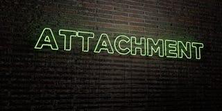 ZUBEHÖR - realistische Leuchtreklame auf Backsteinmauerhintergrund - 3D übertrug freies Archivbild der Abgabe stock abbildung