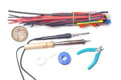 Zubehör und Werkzeuge für das Löten Lizenzfreie Stockfotos