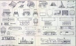 Zubehörlastwagen, Kochlastwagen-Eisenbahnautos Lizenzfreies Stockfoto