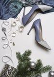 Zubehörmodeausstattung der Draufsicht weibliche stilvolle: blauer Stoff, Schuhohrringhalskettensilberbandniederlassungs-Tannenbau lizenzfreie stockfotos