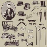Zubehör und alte Autos der Herren Stockbild